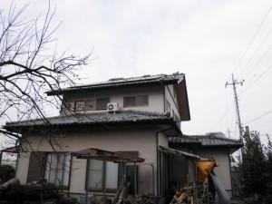 震災直後屋根外壁