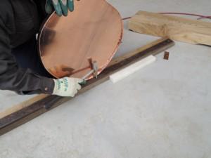 丸桁小口、銅板包み