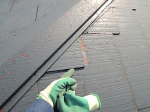 隅棟部分の屋根材のズレ