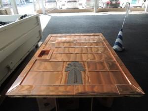 蔵戸の銅板細工