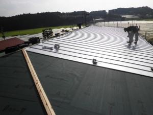 大きな縦平葺きの屋根
