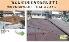 強風で屋根が飛んだ!ある日の屋根レスキュー
